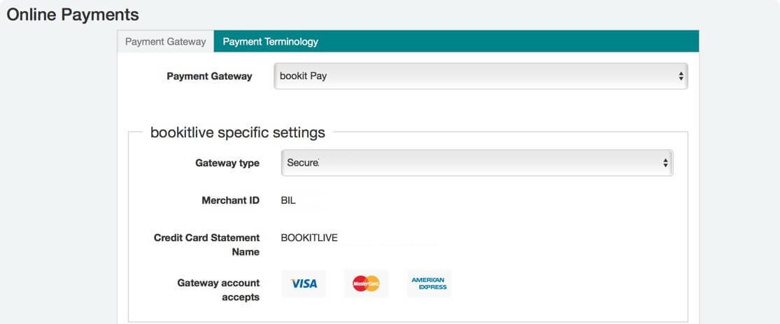 Setting up payment configuration on the booking system dashboard